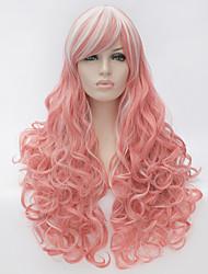 Donna Parrucche sintetiche Senza tappo Molto lungo Rosa Parrucche senza cappuccio costumi parrucche