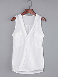 Women's Sell Well All Match Sexy Casual Simple Pocket Solid Ruched T-shirt,Deep V Sleeveless