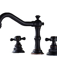 Antique Widespread Widespread with  Ceramic Valve Three Holes Two Handles Three Holes for  Oil-rubbed Bronze , Bathroom Sink Faucet