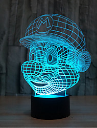 Mario Touch Dimming 3D LED Night Light 7Colorful Decoration Atmosphere Lamp Novelty Lighting Light