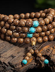 cheap -108*8mm Natural Sandalwood Buddhist Wenge Prayer Beads Bracelet Weed Turquoise Bangle Women Men Jewelry Wholesale