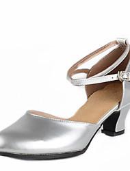 Women's Dance Shoes Sandals Low Heel Gold/Silver/Fuchsia