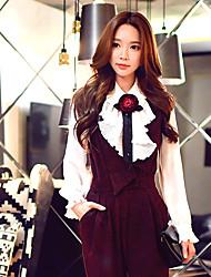 donne dabuwawa uscire / quotidiano / lavoro annata camicia casual / / carino / sofisticato, a maniche lunghe colletto della camicia solido