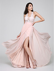 cheap -Sheath / Column Halter Floor Length Chiffon Prom / Formal Evening Dress with Lace Split Front by TS Couture®