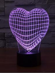 abordables -Coeur aimant gradation 3d led nuit lumière 7colorful décoration atmosphère lampe nouveauté éclairage lumière