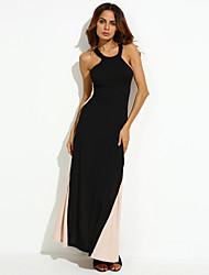 cheap -Women's Bodycon Dress - Color Block, Criss-Cross Maxi Crew Neck