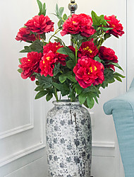 1 1 Une succursale Polyester / Plastique Pivoines Arbre de Noël Fleurs artificielles 29.3inch/100cm