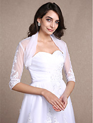 Women's Wrap Shrugs Half-Sleeve Lace White Wedding Party/Evening Casual Scoop 30cm Draped Lace Open Front