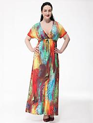 Feminino balanço Vestido,Tamanhos Grandes Boho Arco-Íris Decote em V Profundo Longo Manga Curta Poliéster Verão Cintura Alta