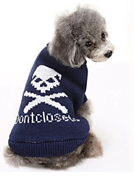 cheap -Cat Dog Sweater Dog Clothes Casual/Daily Keep Warm Skulls Black Gray Blue Pink Costume For Pets