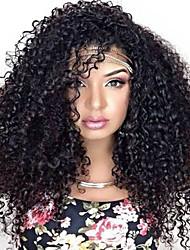 economico -Parrucche sintetiche Afro / Kinky Curly Capelli sintetici Parrucca riccia stile afro / Per donne di colore Natura nera Parrucca Per donna Lungo Senza tappo Nero