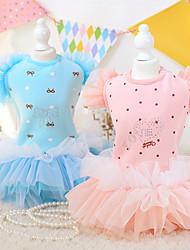 abordables -Chien Robe Vêtements pour Chien Floral / Botanique Bleu Rose Coton Térylène Costume Pour les animaux domestiques Femme Anniversaire