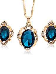 cheap -Women's Crystal Jewelry Set - Crystal, Zircon Asian, Fashion Include Black / Dark Blue For Date / Office & Career / Earrings