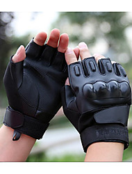 cheap -The Black Hawk Special Forces Tactical Gloves Leather Cut Half Gloves Fitness Outdoor Riding Motorcycle Gloves