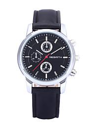 cheap -REBIRTH Men's Quartz Wrist Watch / Hot Sale PU Band Casual Dress Watch Black White Brown