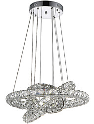 cheap -LED Ring Crystal Pendant Lights Chandeliers Hanging Lamps Fixtures with 3 Round Ring 40W LED Source CE FCC ROHS