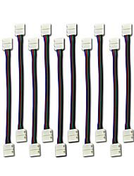 10pcs levou 5050 Strip RGB conector de luz 4 condutor de 10 mm bandas largas para retirar ponte