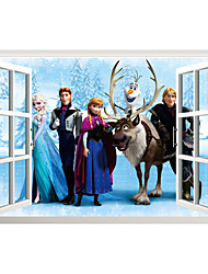3D Cartoon Movie Family 3D Wall Stickers False Window Design Fashion Children's Bedroom Wall Decals