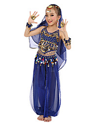 cheap -Belly Dance Outfits Performance Polyester / Chiffon Satin Sequin / Gold Coin Sleeveless Natural Top / Pants / Headwear