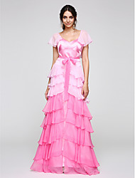 Sheath / Column V-neck Floor Length Chiffon Satin Prom Formal Evening Dress with Cascading Ruffles by TS Couture®