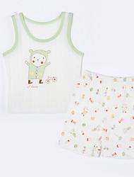 cheap -Baby Unisex Daily Animal Print Clothing Set, Cotton Summer Cartoon Sleeveless Cream
