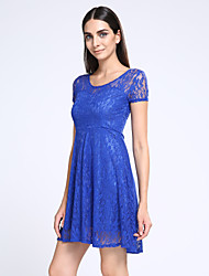cheap -Women's Going out Sophisticated Lace Dress,Solid Round Neck Above Knee Short Sleeves Polyester Summer Mid Rise Micro-elastic Thin