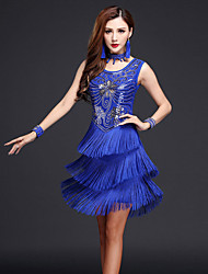 cheap -Latin Dance Dresses Women's Performance Chinlon Milk Fiber Sequin Tassel Sleeveless High Dress Bracelets Neckwear
