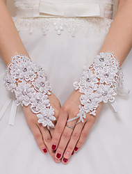 Lace Tulle Polyester Elastic Satin Wrist Length Glove Bridal Gloves Party/ Evening Gloves With Rhinestone Pearls