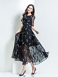 BORME® Femme Col Arrondi Manches 1/2 Maxi Robes-Z141