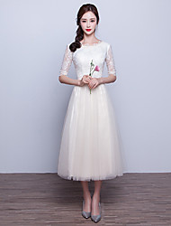 cheap -A-Line Boat Neck Tea Length Lace / Tulle Cocktail Party / Prom Dress with Bow(s) by LAN TING Express