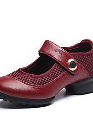 Недорогие -Для женщин-Кожа / Ткань-Не персонализируемая(Черный / Красный) -Танцевальные кроссовки / Модерн