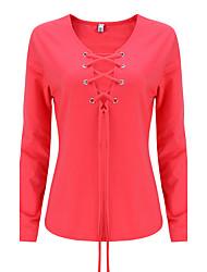 baratos -Mulheres Camiseta Happy-Hour Sensual / Moda de Rua Outono / Inverno,Sólido Vermelho / Branco / Preto / Cinza / Verde Algodão / Raiom