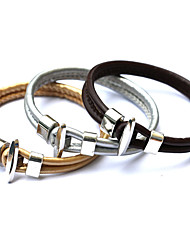 cheap -Fashion Vintage Punk Bracelet Women Metal Bilayer PU Leather Bracelets&Bangles Men Jewelry