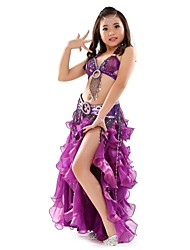 cheap -Belly Dance Outfits Performance Chiffon Paillette Split Front Sleeveless Dropped Top Skirt Belt