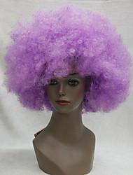 Donna Uomo Parrucche sintetiche Senza tappo Kinky Curly Afro Viola Parrucca Cosplay Parrucca di Halloween Parrucca di carnevale costumi