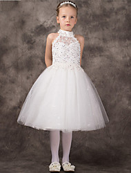 cheap -A-Line Tea Length Flower Girl Dress - Tulle Sleeveless Halter with Beading by Lovelybees