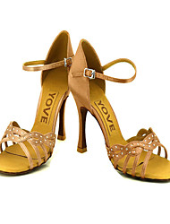 Women's Dance Shoes Latin/Salsa Satin Heel Black/Blue/Yellow/Pink/Purple/Red/White/Fuchsia Customizable