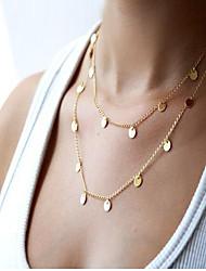 Feminino Colares em Corrente Colares Declaração Liga Moda Estilo simples Dupla camada Europeu bijuterias Jóias Para Diário Casual