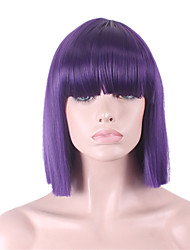 cheap -Synthetic Wig Straight / Yaki Bob Haircut / With Bangs Synthetic Hair With Bangs Purple Wig Women's Capless
