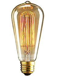 Недорогие -1шт 40W E26 / E27 ST64 Тёплый белый 2300k Ретро Диммируемая Декоративная Лампа накаливания Vintage Эдисон лампочка 220-240V