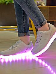 Damen Flache Schuhe Komfort Leuchtende LED-Schuhe PU Frühling Sommer Herbst Normal Komfort Leuchtende LED-Schuhe Flacher Absatz Weiß