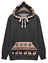 preiswerte -Damen Standard Hoodies-Lässig/Alltäglich Retro Patchwork Weiß / Grau Mit Kapuze Langarm Polyester Herbst Mittel Mikro-elastisch
