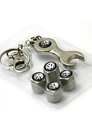 Car Standard Valve Cap Valve Core Cover With Metal Security Valve Cap Wrench Key Chain