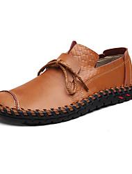 Homens sapatos Pele Primavera Verão Conforto Mocassins e Slip-Ons Caminhada Cadarço para Casual Preto Amarelo Marron