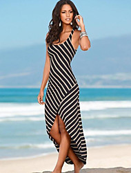 economico -Fodero Vestito Da donna-Spiaggia Sensuale A strisce Con bretelline Asimmetrico Senza maniche Nero Cotone Estate