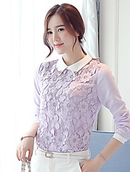 cheap -Women's Work Blouse - Color Block Shirt Collar / Spring / Fall / Lace