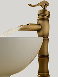 Traditional Vessel Waterfall with  Ceramic Valve One Hole Single Handle One Hole for  Antique Brass , Bathroom Sink Faucet