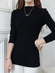 economico -Standard Pullover Da donna-Casual Semplice Tinta unita Rosa Bianco Nero Rotonda Manica lunga Rayon Primavera Medio spessoreMedia