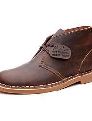 cheap -Men's Leather Shoes Leather Spring / Summer / Fall Comfort Boots Walking Shoes Black / Brown
