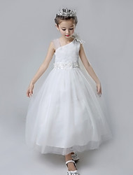 Ball Gown Tea Length Flower Girl Dress - Cotton Tulle Sleeveless Straps with Ruffles by Lovelybees